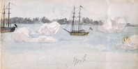 Original title:  Looking s. towards Gibralter Point, showing firing of salute.; Author: Simcoe, Elizabeth Posthuma (Gwillim) (1762-1850); Author: Year/Format: 1793, Picture