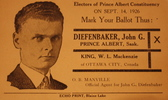 Titre original :    Description Election handout for John Diefenbaker, 1926 Date 1926(1926) Source Exhibit at the Diefenbaker Canada Centre, Saskatoon, Canada Author Diefenbaker campaign