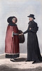 Original title:  A French Canadian Lady in her Winter Dress and a Roman Catholic Priest.