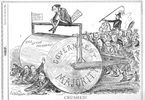 Original title:    Description English: Political cartoon by John Wilson Bengough shoes the Conservative majority in Canada's House of Commons as a steamroller. Macdonald uses his parliamentary majority to roll to victory over Liberal leader Edward Blake. Date 1884(1884) Source The Grip, March 8, 1884, available here Author John Wilson Bengough, died 1923