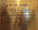Original title:  Memorial Plaque from Regal Road Public School, the school in Toronto where the Lieutenant taught before serving his country.