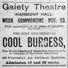 Titre original :  Advertisement for a Cool Burgess show. From: Ottawa Daily Citizen, 26 Nov 1891, Page 3.