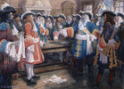 Original title:  Frontenac receiving the envoy of Sir William Phipps demanding the surrender of Quebec, 1690.
