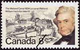 Original title:  The Welland Canal, 1824, William Hamilton Merritt = Le canal Welland, 1824, William Hamilton Merritt [philatelic record].  Philatelic issue data Canada : 8 cents Date of issue 29 November 1974