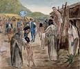 Original title:  Arrival of Jacques Cartier at Hochelaga, 1535.