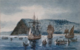 Titre original :  Arrival of Jacques Cartier at Stadacona, 1535.