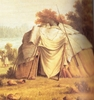 Original title:    Ojibwa wigwam. Detail from a painting (1846) by Paul Kane (1810-71).