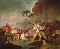 Titre original :    Description English: Death of Captain James Cook, oil on canvas by George Carter, 1783, Bernice P. Bishop Museum Date 1783(1783) Source Bernice P. Bishop Museum Author George Carter