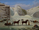 Titre original :    Artist Robert Clow Todd 1866 (Canadian) (Painter, Details of artist on Google Art Project) Title The Ice Cone, Montmorency Falls, Québec Object type Unknown Date c. 1845 Medium oil on canvas English: oil on canvas Dimensions Height: 512 mm (20.16 in). Width: 679 mm (26.73 in). Current location Art Gallery of Ontario Native name Art Gallery of Ontario Location Toronto Coordinates 43° 39′ 14.0″ N, 79° 23′ 34.0″ W Established 1900, renamed 1966 Website www.ago.net Accession number 87/94 Source/Photographer Google Art Project: Home - pic