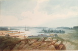 Original title:  Fort (or Port?) Collier, from the North North West, and Drummond Island, Lake Huron.; Author: WOOLFORD, JOHN ELLIOTT (1778-1866); Author: Year/Format: 1821, Picture