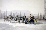 Original title:  Painting Sleighing James Duncan (1806-1881) 1850-1870, 19th century Watercolour and graphite on paper 15.7 x 23.2 cm Gift of Mr. David Ross McCord M311 © McCord Museum Keywords:  Genre (188) , Painting (2229) , painting (2226)