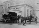 "Original title:  ""Boat carriage"", with Governor Sir John Glover and Lady Glover in front seat, Government House."