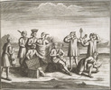 Original title:    Iroquois with various goods, presumably western goods which they traded for. Date: 1722 Source URL: Image description / full source information  From: Histoire de l'Amérique septentrionale: divisée en quatre tomes By: Bacqueville de La Potherie