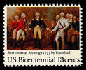 Titre original :    Description English: USPOD 13-cent American Bicentennial stamp issued in 1977 for the 200th anniversary of the surrender of General John Burgoyne (1723-1792) (British commander} to General Horatio Gates (1726–1806) (US commander) at Saratoga Date USPOD issued this stamp on October 7, 1977 (2006-12-05 (original upload date)) Source Originally from en.wikipedia; description page is/was here. Author Original uploader was Serjmooradian at en.wikipedia