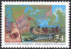 Original title:  Jolliet et le Père Marquette = Father Marquette with Jolliet [philatelic record].  Philatelic issue data Canada : 34 cents