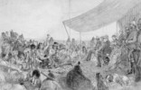 Original title:  Crowfoot addressing the Marquis of Lorne; pow-wow at Blackfoot Crossing, Bow River, September 10, 1881.