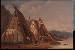 Original title:  Painting Three Montagnais, Wigwams, Murray Bay William Raphael About 1875, 19th century Oil on canvas 30.2 x 44.8 cm Gift of Mrs. W. D. Lighthall M6016 © McCord Museum Keywords:  Painting (2229) , painting (2226) , Waterscape (2986)