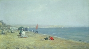 Original title:    Artist Frederic M. Bell-Smith (1846–1923) Title English: Sunny Sandown, Isle of Wight Date circa 1908 Medium oil on cardboard Dimensions 23.2 × 41.4 cm (9.1 × 16.3 in) Current location National Gallery of Canada Native name English:National Gallery of Canada / French:Musée des beaux-arts du Canada Location Ottawa Coordinates 45° 25′ 46.29″ N, 75° 41′ 55.11″ W Established 1880 Website National Gallery of Canada Accession number 6446 Credit line Purchased 1956 Source/Photographer The AMICA Library
