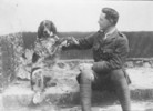 Original title:  Lt.-Col. John McCrae and his dog Bonneau.