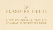 Original title:    Description Page from a limited edition book containing an illustrated poem, In Flanders Fields, 1921 Date 1921(1921) Source JP2 zip data at fieldsinflanders00mccrrich archive.org Author John McCrae and Ernest Clegg Permission (Reusing this file) Public domainPublic domainfalsefalse This image is in the public domain because it is a mere mechanical scan or photocopy of a public domain original, or – from the available evidence – is so similar to such a scan or photocopy that no copyright protection can be expected to arise. The original itself is in public domain for the following reason: Public domainPublic domainfalsefalse Uploader asserts that this file has been released into the public domain by the copyright holder, its copyright has expired, or it is ineligible for copyright. Note: This template is missing the primary license justifying the original PD claim. Please add a