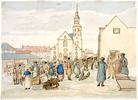 Titre original :  Winter View of the Upper Town Market showing the Catholic Cathedral and Seminary / Le marché de la Haute-Ville, la basilique et le séminaire en hiver.