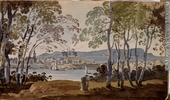 Titre original :  Painting Montreal from St. Helen's George Heriot About 1801, 19th century Watercolour and graphite on paper 11.4 x 19.5 cm Gift of Mrs. J. C. A. Heriot M928.92.1.21 © McCord Museum Description Keywords:  Painting (2229) , painting (2226)