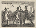 Titre original :    Description Allegorical illustration of a slave's transition to liberty as he escapes his owner and is embraced by an Abolitionist in a Free State. Engraving taken from the book, 'Narrative of the Life and Adventures of Henry Bibb, An American Slave', 1849. Date 19th century Source Fine Art America Author Unknown