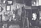 Titre original :  Photograph of Charlotte M.B. Schreiber in her studio. Charlotte M.B. Schreiber, working in her studio at Erindale, Ontario, 1895. Source: Art. Toronto, Society of Canadian Artists. -- 5 v. ill. (some col.) 28 cm. -- (Fall 1973). -- Vol. 5, no. 15. -- ISSN 0004-3257. -- P. 19.