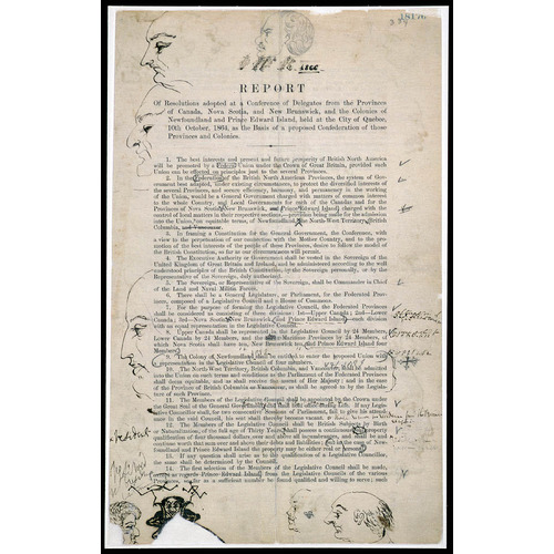 Titre original :  Resolutions of the Québec Conference of 1864, with doodles by John A. Macdonald in 1866. Library and Archives Canada.