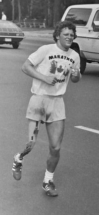 "Original title:    Description English: Photo of Terry Fox, Canadian cancer fund-raiser, during his 1980 ""Marathon of Hope"" fund-raising run across Canada. Photo taken July 12, 1980 in Toronto, Ontario, Canada by Jeremy Gilbert with his Praktika SLR 35 mm camera on Bloor Street East, near entrance to Castle Frank subway station, looking south-east towards Castle Frank Road as Fox heads west along Bloor Street. Date 12 July 1980 Source Transferred from en.wikipedia Author Jeremy Gilbert Permission (Reusing this file)   The permission for use of this work has been archived in the Wikimedia OTRS system. It is available here for users with an OTRS account. If you wish to reuse this work elsewhere, please read the instructions at COM:REUSE. If you are a Commons user and wish to confirm the permission, please leave a note at the OTRS noticeboard. Ticket link: https://ticket.wikimedia.org/otrs/index.pl?A"