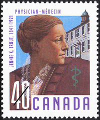 Original title:  Jennie K. Trout, 1841-1921, physician = Jennie K. Trout, 1841-1921, médecin [philatelic record].  Philatelic issue data Canada : 40 cents