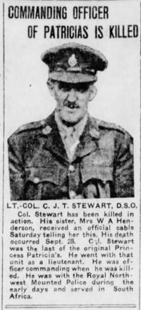 Titre original :  Photo of Charles James Townshend Stewart in the Winnipeg Tribune, 7 October 1918 – from the Digital Collection at the Canadian Virtual Memorial: http://www.veterans.gc.ca/eng/remembrance/memorials/canadian-virtual-war-memorial/.