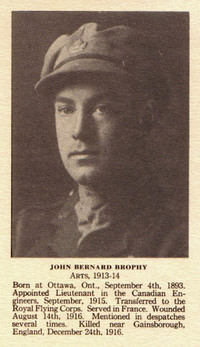 "Titre original :  John Bernard Brophy from the ""McGill Honour Roll, 1914-1918"". McGill University, Montreal, Quebec, 1926. From the Digital Collection at the Canadian Virtual Memorial: http://www.veterans.gc.ca/eng/remembrance/memorials/canadian-virtual-war-memorial/."
