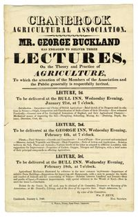 Titre original :  Announcement of lectures by George Buckland (1805-1885) to the Cranbrook Agricultural Association, 1846. U of T Archives Image Bank - 2002-85-3MS.