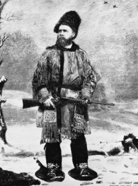 "Original title:  Reverend Egerton Ryerson Young in buckskin costume. Reproduced from illustration in ""By Canoe and Dog train"" by E. R. Young. Image courtesy of Glenbow Museum, Calgary, Alberta."