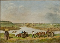 Original title:  The Forks, 19th century by W. Frank Lynn. Oil on canvas, 61 x 86.6 cm. Collection of the Winnipeg Art Gallery, gift of Mrs. J.K. Morton. Photograph: Ernest Mayer, courtesy of the Winnipeg Art Gallery.