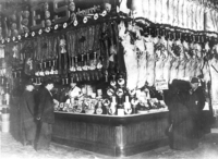 Original title:  William Davies Company stall at St. Lawrence Market. Toronto, Canada. City of Toronto Archives, Fonds 1244, Item 338B.