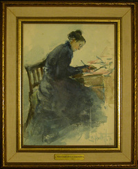 Original title:  Watercolour on paper, Charlotte Smithers, Mrs Joseph Bowles Learmont (1845-1934) by Beatrice M. L. Huntington. Collection: Quebec House, Kent, National Trust.