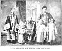 Original title:  Lee Mong Kow, his mother wife and family. From: Maclean's magazine, 1 May 1909. Source: https://archive.macleans.ca/article/1909/5/1/a-remarkable-canadian-chinaman
