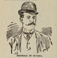 "Titre original :  ""Birchall in Canada"" from Birchall : the story of his life, trial, and imprisonment, as told by himself ; profusely illustrated by Reginald Birchall. National Pub. Co., 1890. Source: https://archive.org/details/birchallstoryofh00birc/page/n19/mode/2up"