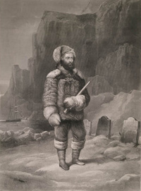Titre original :  Source:	Library and Archives Canada, Acc. No. R9266-3180 Peter Winkworth Collection of Canadiana. Description: Elisha Kane at the graves of John Franklin's men on Beechey Island. Date: 1850s. Artist: Wandesforde, J.B.; Engraver: Thompson, D.G.