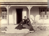 "Original title:  Elliott Galt with one of his sisters and a cousin outside ""Coaldale,"" AB, about 1885 About 1885, 19th century Silver salts on paper 20 x 25 cm 19738083000 This artefact belongs to : © Sir Alexander Galt Museum and Archives Description"