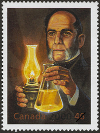 Original title:  Abraham Gesner: Father of the Oil Industry [philatelic record]  : Abraham Gesner: de la médecine au kérosène Philatelic issue data Canada : 46 cents Date of issue 17 Mar. 2000