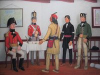 Original title:  Brock,Tecumseh, Billy Caldwell & Commander of the Caldwell Rangers, William Caldwell (Painting courtesy of the artist Mr. Hal Sherman from the collection of Mr. & Mrs. Jerry Gagnon.)