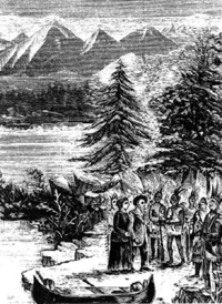 Titre original :  Meeting of Marie-Anne and Jean-Baptiste Lagimodière with First Nations people, c. 1807