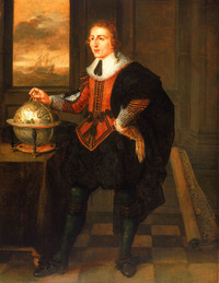 Original title:  Portrait of Baffin by Hendrick van der Borcht, Navigator with Globe and Dividers