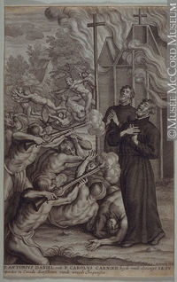 Original title:  Print Jesuit Martyrs. Death of Father Antoine Daniel and Father Charles Garnier Lommelin About 1680, 17th century 29 x 18.6 cm Gift of Mr. David Ross McCord M2210 © McCord Museum Keywords:  event (534) , History (944) , Print (10661)