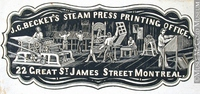 Titre original :  Engraving Commercial crest of J. C. Becket's Steam Press Printing Office John Henry Walker (1831-1899) 1850-1885, 19th century Ink on paper on supporting paper - Wood engraving 5.1 x 10.7 cm Gift of Mr. David Ross McCord M930.50.7.214 © McCord Museum Keywords:  commercial (1771) , Print (10661) , Sign and symbol (2669)