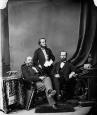 Titre original :  L. to R.: Hon. George Luther Hatheway, (Premier of New Brunswick), Hon. William Wedderburn, and Hon. Stevenson, (Surveyor-General of New Brunswick)