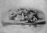 Original title:  Sir John Glover, Governor of Newfoundland, and Lady Glover with their dog Fogo in a canoe.
